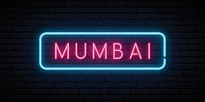 insegna al neon di mumbai. cartello luminoso luminoso. vettore
