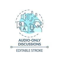 icona del concetto di discussioni solo audio vettore