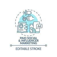 icona del concetto di marketing sociale e influencer a pagamento vettore