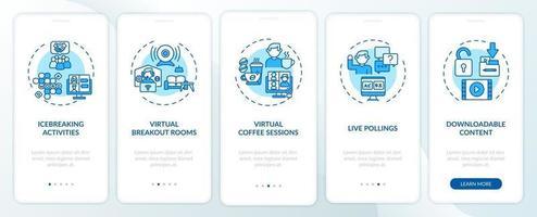 suggerimenti per il successo di eventi remoti per l'onboarding della schermata della pagina dell'app mobile con concetti vettore