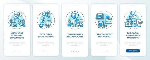 suggerimenti per il marketing di eventi virtuali sulla schermata della pagina dell'app mobile con concetti vettore