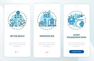 vantaggi della sessione ibrida onboarding schermata della pagina dell'app mobile con concetti vettore