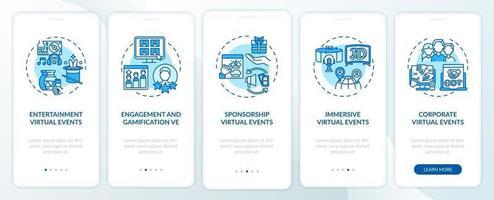 tipi di eventi remoti onboarding schermata della pagina dell'app mobile con concetti vettore