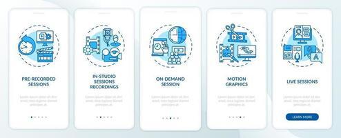 contenuto di eventi remoti onboarding schermata della pagina dell'app mobile con concetti vettore