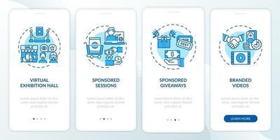 sponsorizza idee per eventi remoti onboarding nella schermata della pagina dell'app mobile con concetti vettore