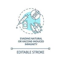eludere l'icona del concetto di immunità naturale o indotta da vaccino vettore