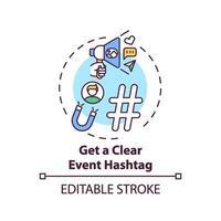 ottenere una chiara icona del concetto di hashtag dell'evento vettore