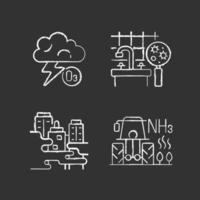 Icone bianche gesso inquinamento atmosferico impostato su sfondo nero vettore