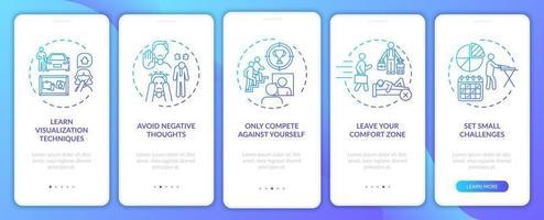 Strumenti di miglioramento personale Schermata della pagina dell'app per dispositivi mobili di onboarding della marina con concetti vettore