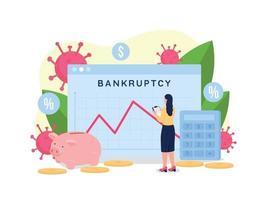 illustrazione di vettore di concetto piatto grafico di recessione finanziaria
