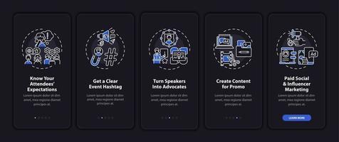 raccolta remota schermata della pagina dell'app mobile di onboarding marketing con concetti vettore