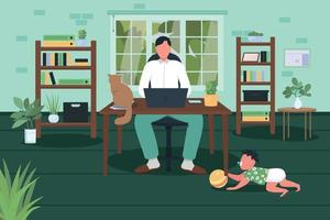 illustrazione vettoriale di colore piatto equilibrio tra lavoro e vita familiare
