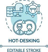 icona del concetto di hot-desking vettore