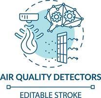 icona del concetto di rilevatori di qualità dell'aria vettore