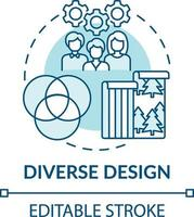 icona del concetto di design diversificato vettore