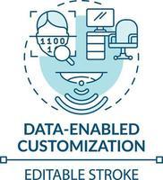 icona del concetto di personalizzazione abilitata ai dati vettore