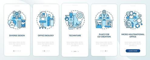 tendenza dello spazio di lavoro nell'onboarding della schermata della pagina dell'app mobile con concetti vettore