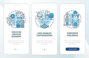 tendenze futuristiche del design dell'ufficio che integrano la schermata della pagina dell'app mobile con concetti vettore