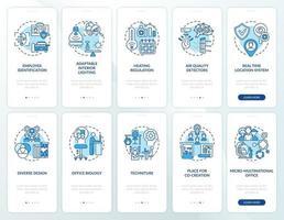 schermata della pagina dell'app mobile per la pianificazione di un ufficio intelligente con set di concetti vettore