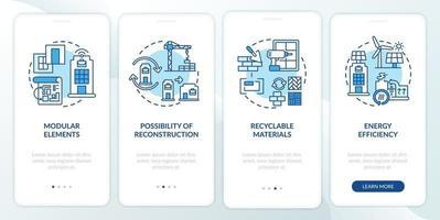 requisito futuristico edificio per uffici onboarding schermata della pagina dell'app mobile con concetti vettore