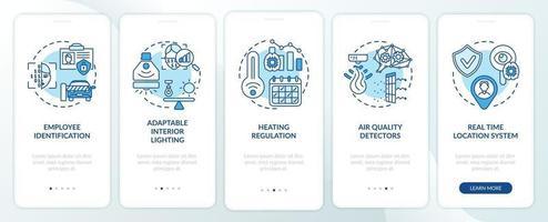schermata della pagina dell'app mobile di onboarding futuristico dell'ufficio intelligente con concetti vettore