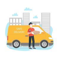 fattorino con un concetto di illustrazione vettoriale camion in stile cartone animato. concetto di consegna di cibo sicuro. concetto di consegna kit pasto. il fattorino è in possesso di una scatola. illustrazione vettoriale piatta.