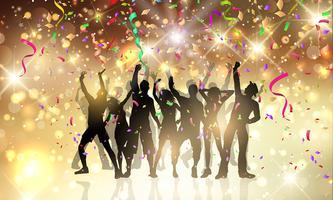 Party persone su uno sfondo coriandoli e stelle filanti vettore
