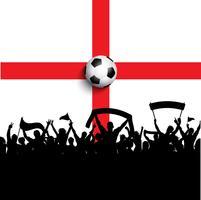 Sostenitori di calcio sulla bandiera dell'Inghilterra vettore