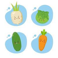 set di 4 verdure kawaii vettore