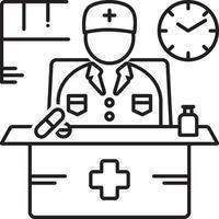 icona della linea per il medico di turno vettore