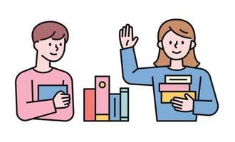 ragazzo e ragazza che tengono i libri. illustrazione di vettore minimo di stile di design piatto.