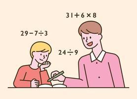 bambini seduti alle loro scrivanie e homeschooling. illustrazione di vettore minimo di stile di design piatto.