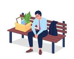 dipendente licenziato triste che si siede sul carattere dettagliato di vettore di colore piatto della panchina