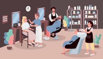 illustrazione di vettore di colore piatto salone di parrucchiere. uomo che taglia la barba. parrucchiere che lava i capelli della donna. l'artista applica il trucco. stilisti personaggi dei cartoni animati 2d con mobili salone di bellezza sullo sfondo
