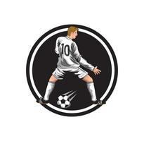 illustrazione del personaggio del giocatore di calcio dei cartoni animati vettore