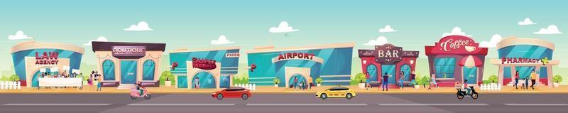 illustrazione vettoriale di colore piatto marciapiede della città. boutique di moda. esterno del supermercato. facciata bar. caffetteria. farmacia, agenzia legale. città paesaggio urbano cartone animato 2d con edifici e persone sullo sfondo