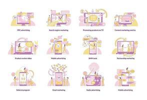 set di illustrazioni vettoriali per il concetto di linea sottile di marketing digitale. marketer e clienti personaggi dei cartoni animati 2D per il web design. strategie di promozione, idee creative di tecnologie pubblicitarie