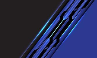 astratto blu linea nera circuito cyber slash su spazio vuoto grigio design moderno sfondo tecnologia futuristica illustrazione vettoriale. vettore