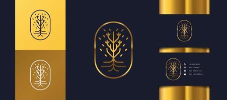 logo di lusso albero d'oro con fogliame in un cerchio, può essere utilizzato per i loghi di hotel, spa, bellezza o immobili vettore