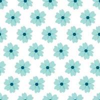 motivo floreale. bei fiori su sfondo bianco. stampa con piccoli fiori blu. stampa ditsy. trama vettoriale senza soluzione di continuità. simpatici motivi floreali. modello elegante per stampanti alla moda