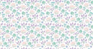 carino sfondo floreale. fiori piuttosto piccoli su sfondo bianco. piccoli fiori rosa, viola, blu. fiori primaverili. fiori estivi. vettore