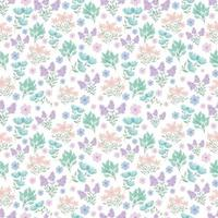 carino motivo floreale. fiori piuttosto piccoli su sfondo bianco. stampa con piccoli fiori rosa, viola, blu. stampa ditsy. trama vettoriale senza soluzione di continuità. modello elegante per stampanti alla moda. fiori di primavera. fiori estivi.