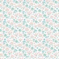 primavera, fiori estivi. carino motivo floreale. fiori piuttosto piccoli su sfondo bianco. stampa con piccoli fiori rosa, viola, blu. stampa ditsy. trama vettoriale senza soluzione di continuità. modello elegante per stampanti alla moda.