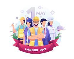 un gruppo di persone di diverse professioni. uomo d'affari, chef, poliziotta, operai edili. festa del lavoro il 1 ° maggio. illustrazione vettoriale