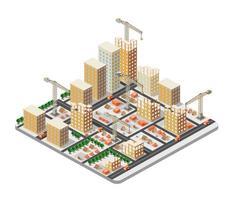 grande città isometrica della città del settore delle costruzioni di gru vettore