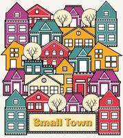 una piccola città con belle case e palazzi vettore