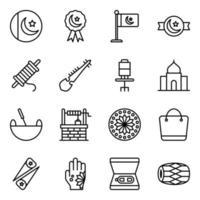 set di icone di elementi culturali e festival pakistani vettore