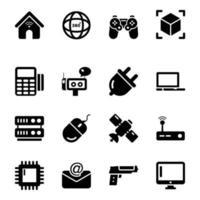 set di icone di tecnologia e dispositivi vettore