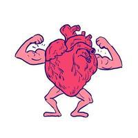 disegno muscolare di flessione del cuore sano vettore