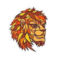 mosaico testa di leone maschio vettore